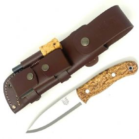 Mk II TBS Boar Bushcraft Knife - Curly Birch - Full Cover Sheath